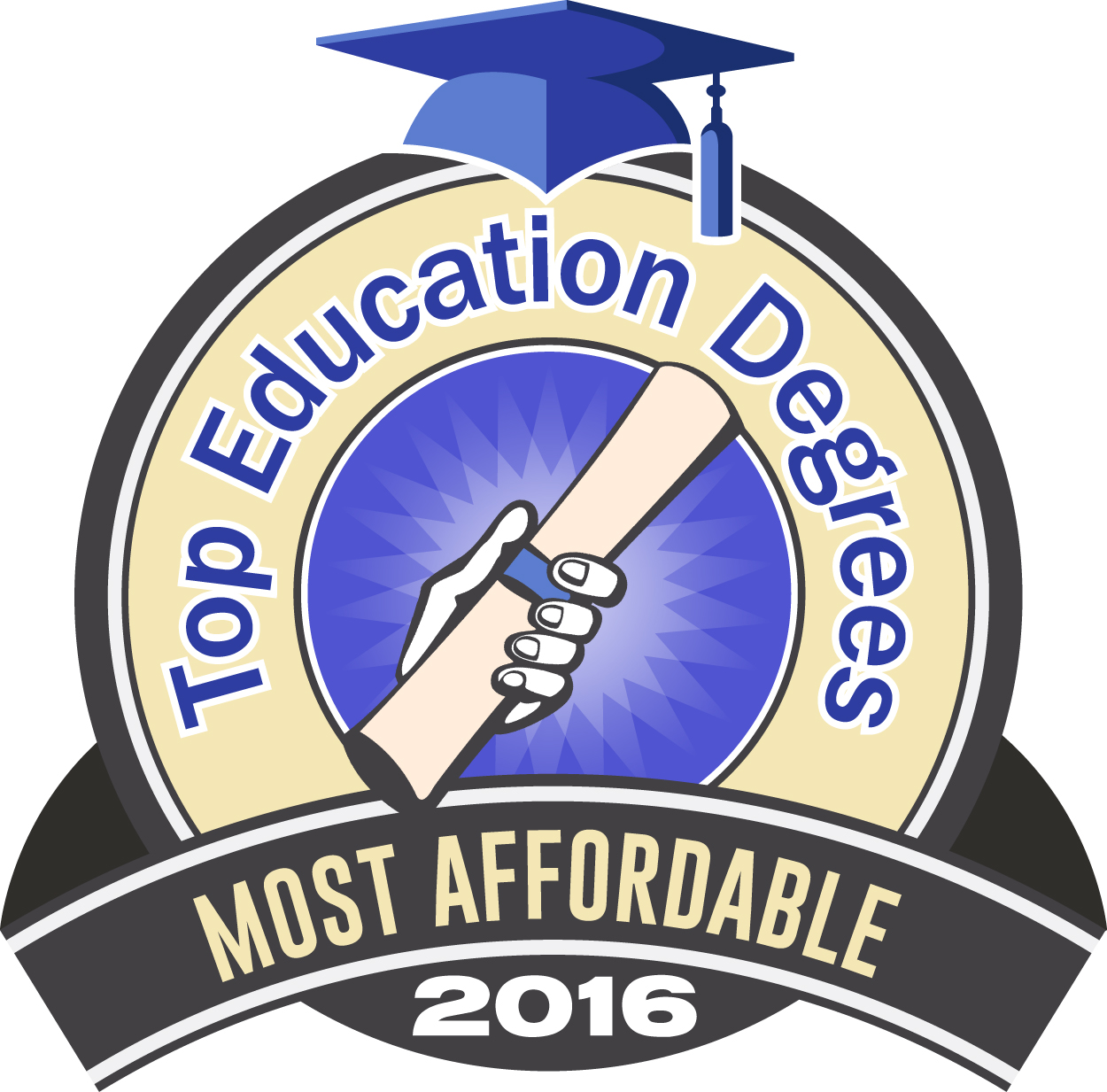 Top Education Degrees   Most Affordable 2016 Click Here For High Resolution  Badge.